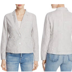 MSRP$218 Eileen Fisher Notch Collar Stripe Jacket